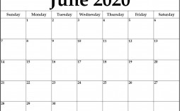 005 Top June 2020 Monthly Calendar Template Inspiration