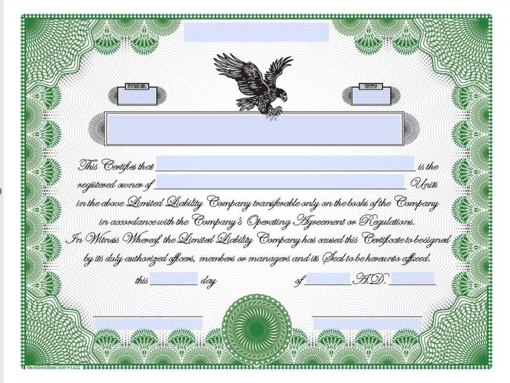 005 Top Llc Membership Certificate Template Example  Interest Free MemberLarge