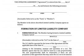 005 Top Operation Agreement Llc Template High Resolution  Operating Florida Indiana Single Member California