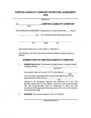 005 Top Operation Agreement Llc Template High Resolution  Operating Florida Indiana Single Member California360
