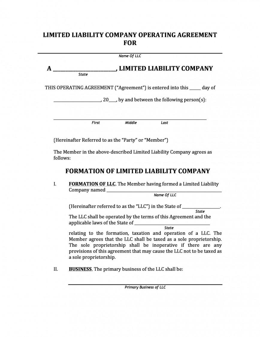 005 Top Operation Agreement Llc Template High Resolution  Operating Florida Indiana Single Member California868