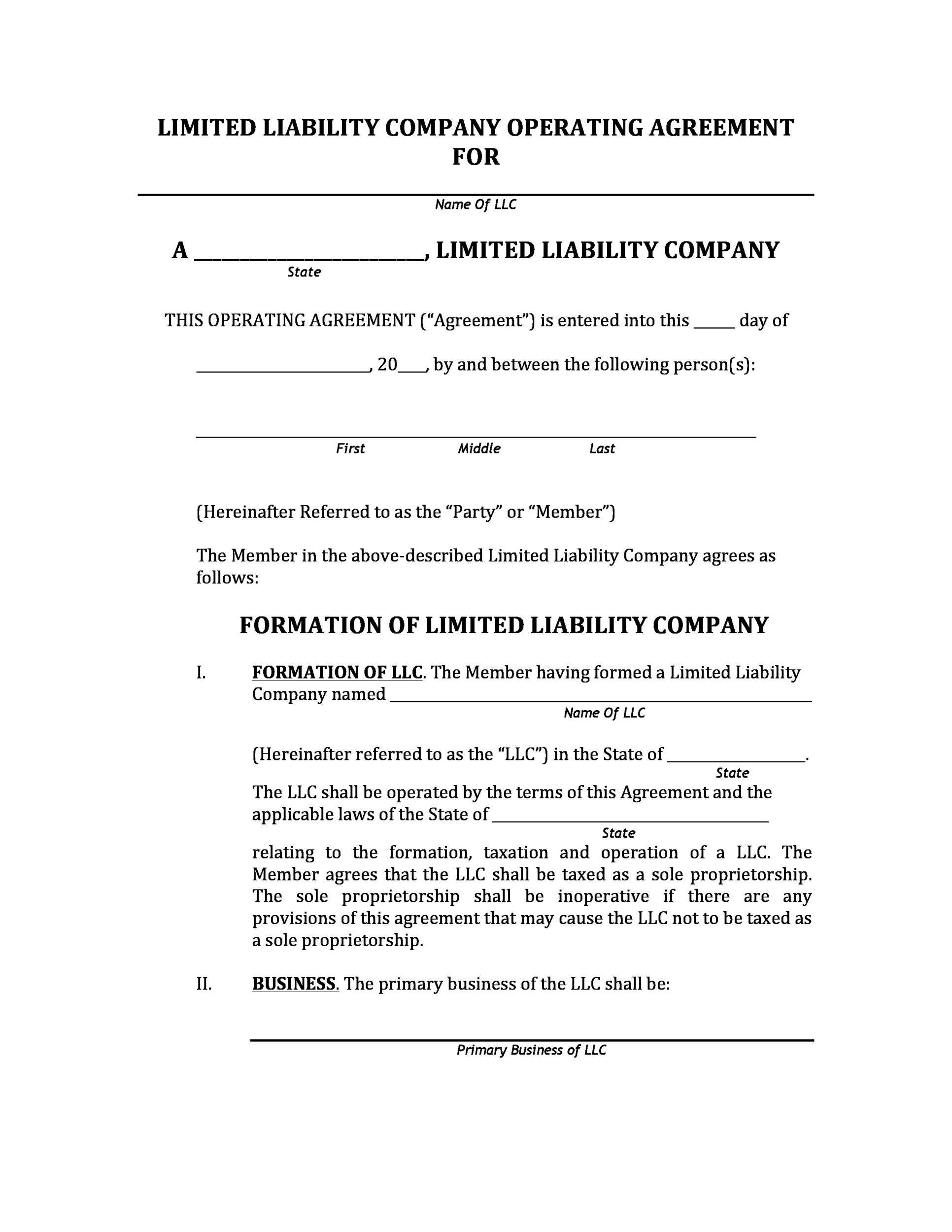 005 Top Operation Agreement Llc Template High Resolution  Operating Florida Indiana Single Member CaliforniaFull