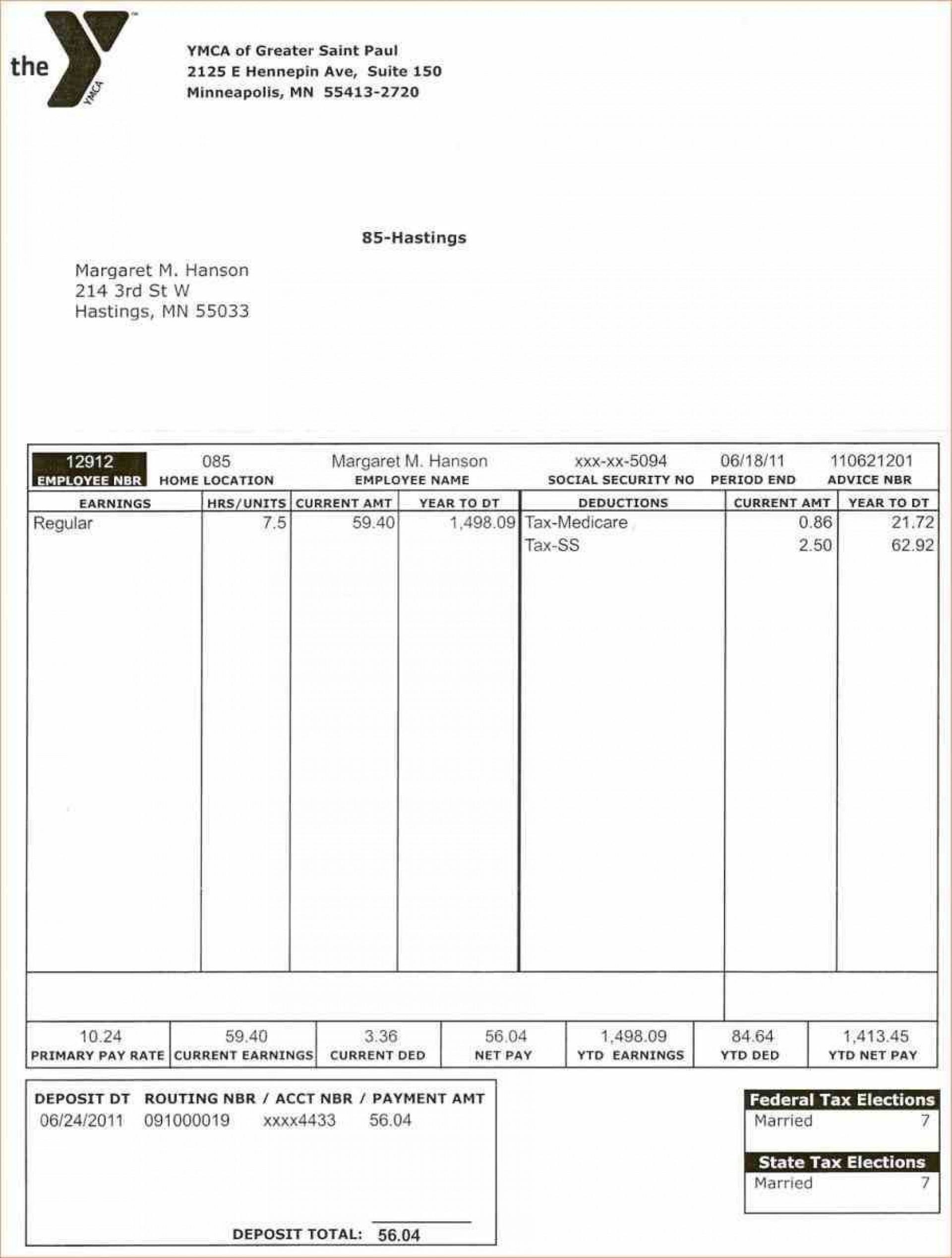005 Top Pay Stub Template Word Image  Document Check Microsoft Free1920