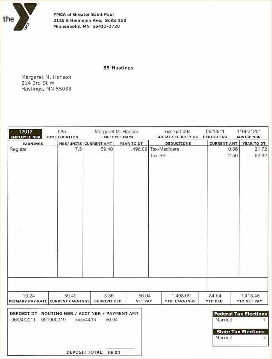 005 Top Pay Stub Template Word Image  Document Check Microsoft FreeFull