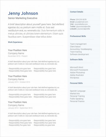 005 Top Professional Cv Template Free Online Photo  Resume360