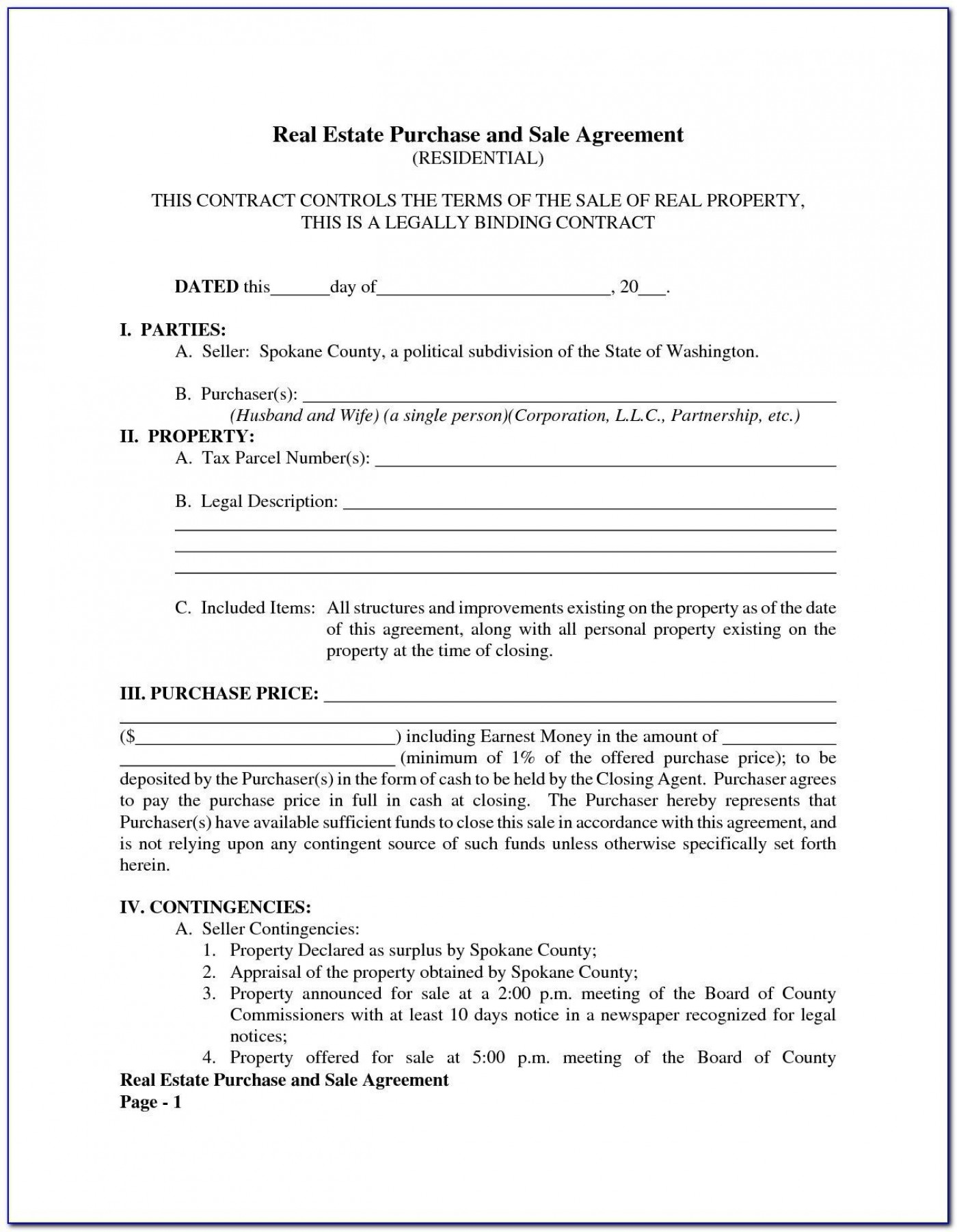 005 Top Property Purchase Agreement Template Free Picture  Mobile Home1400