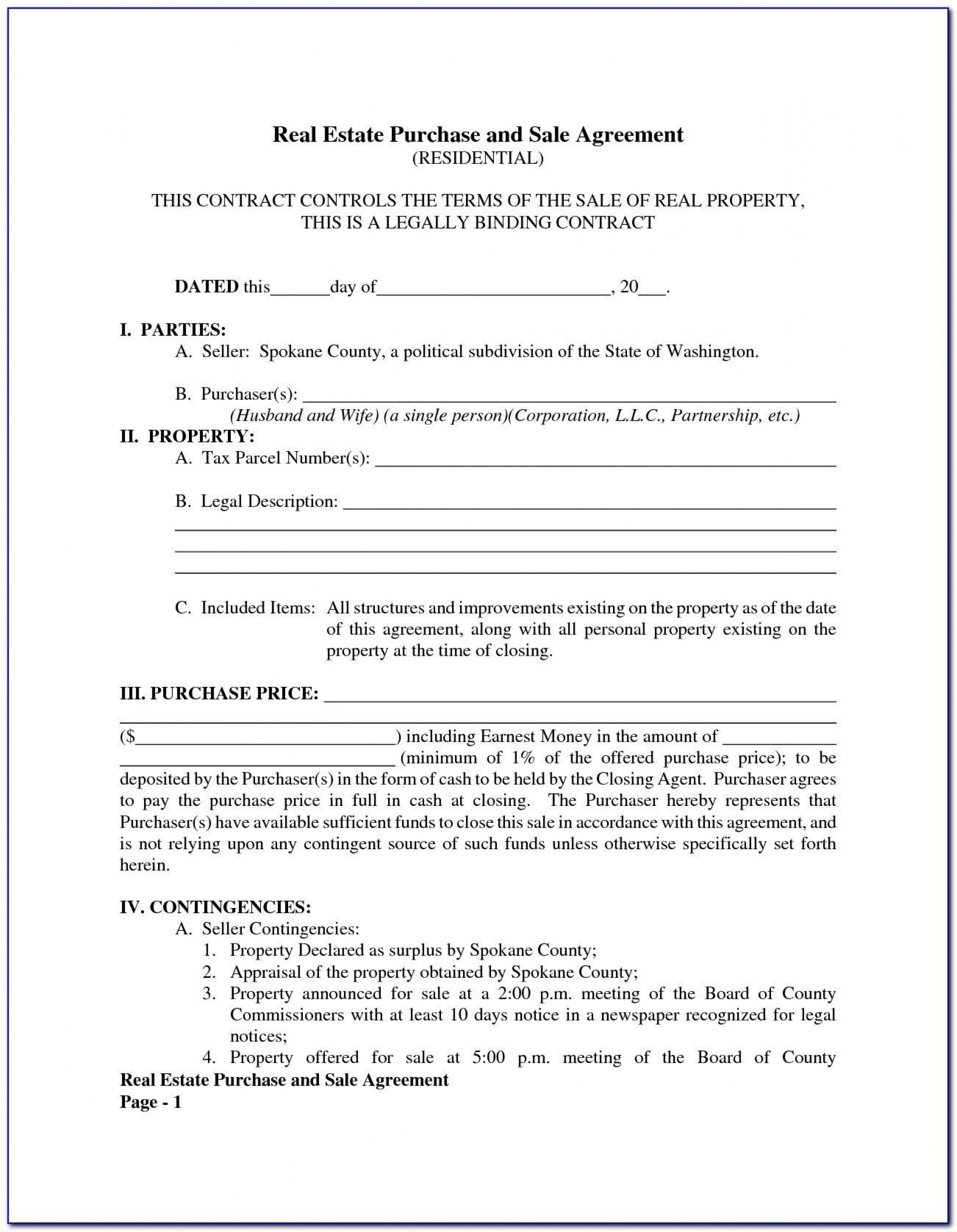 005 Top Property Purchase Agreement Template Free Picture  Mobile Home1920