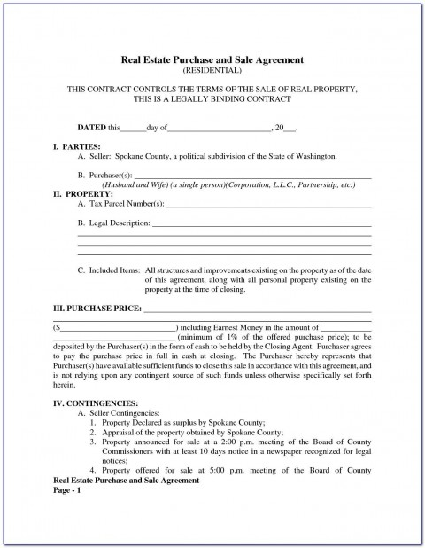 005 Top Property Purchase Agreement Template Free Picture  Mobile Home480