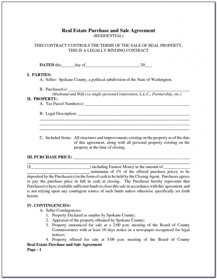 005 Top Property Purchase Agreement Template Free Picture  Mobile Home728