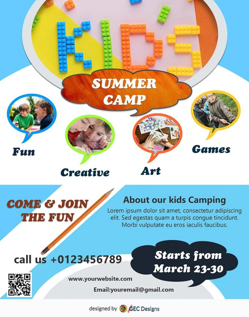 005 Top Summer Camp Flyer Template High Resolution  Free Word Psd Day