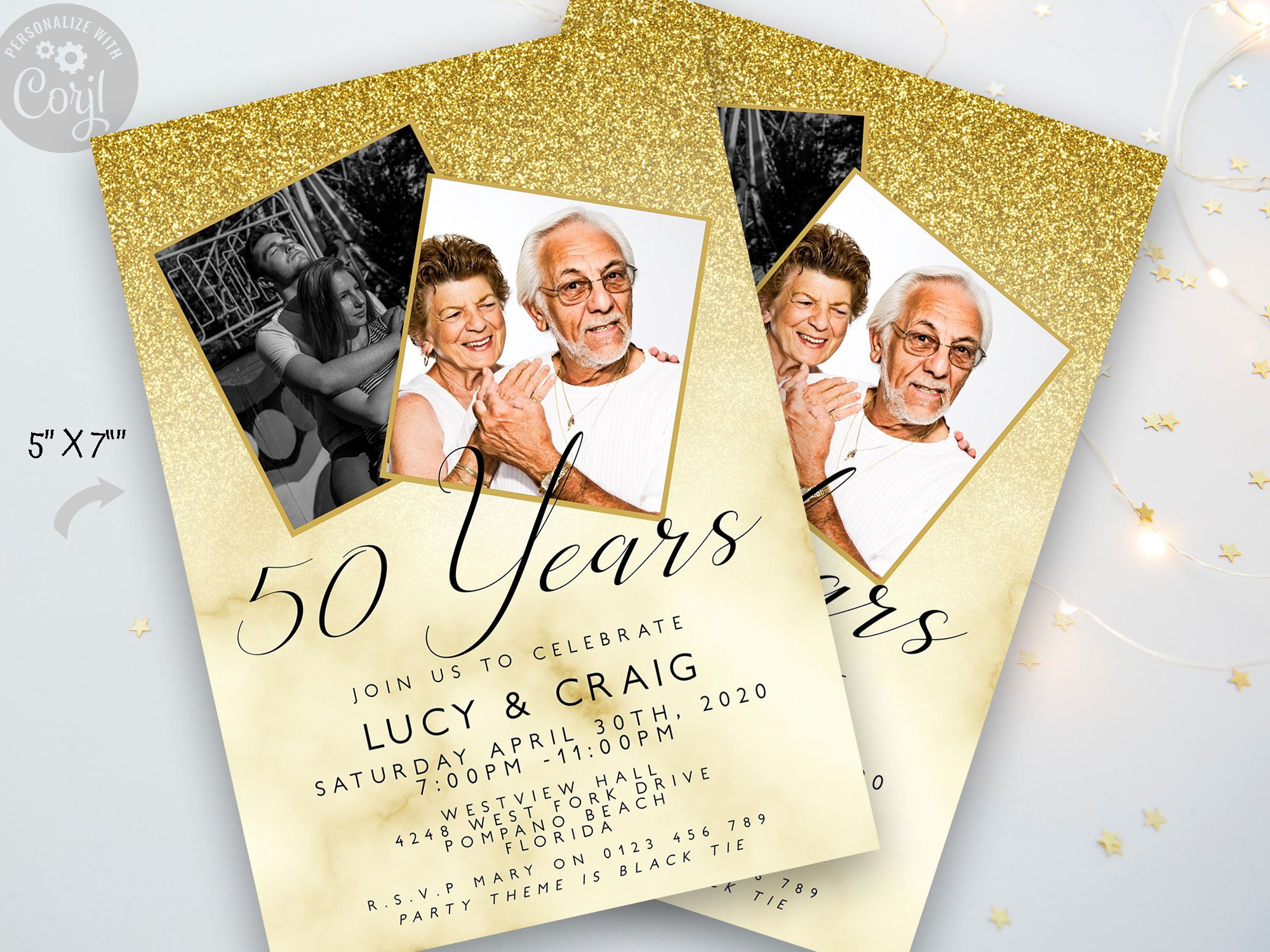 005 Unbelievable 50th Wedding Anniversary Party Invitation Template Photo  Templates FreeFull
