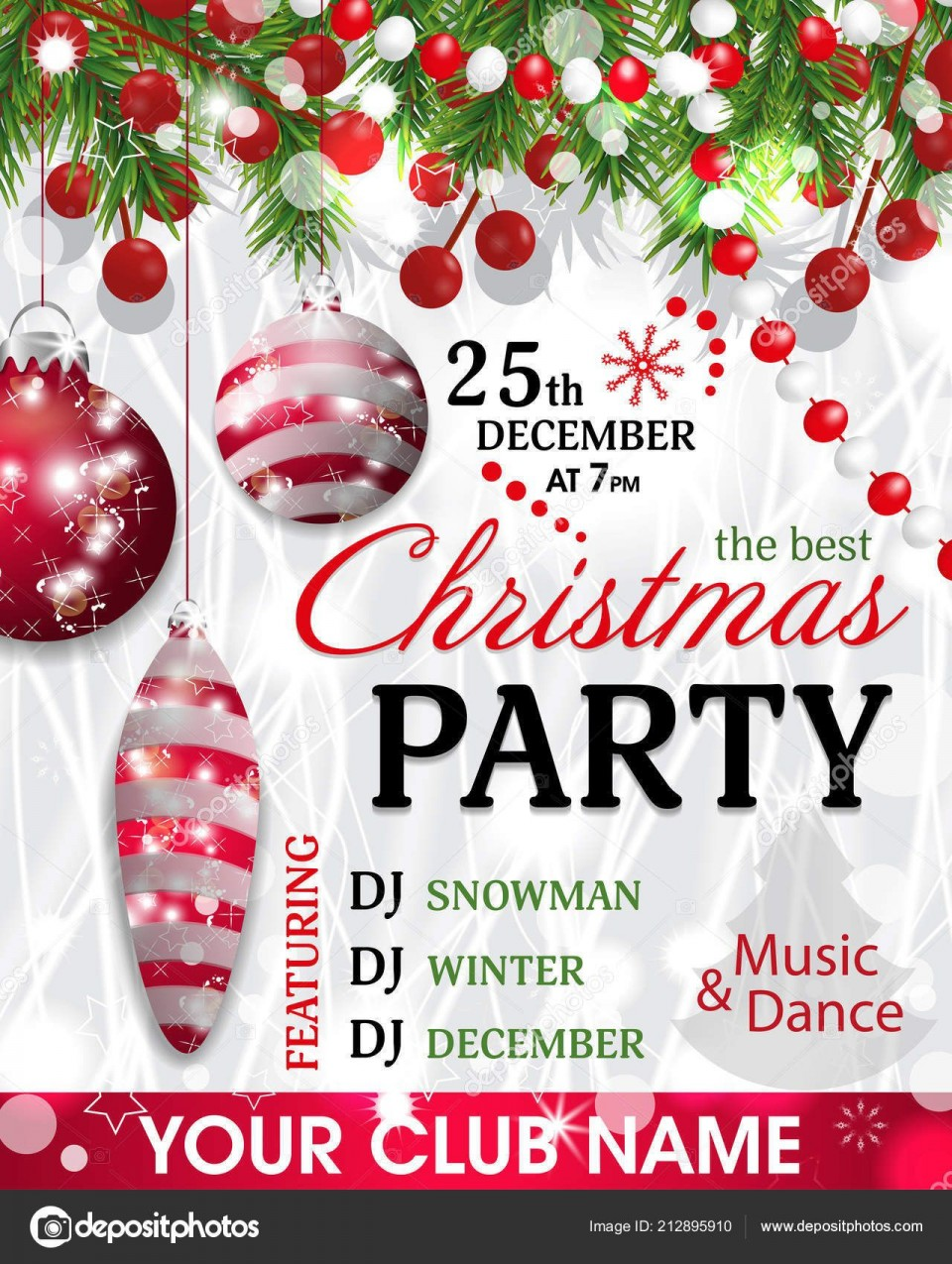 005 Unbelievable Christma Party Invitation Template Design  Holiday Download Free Psd960