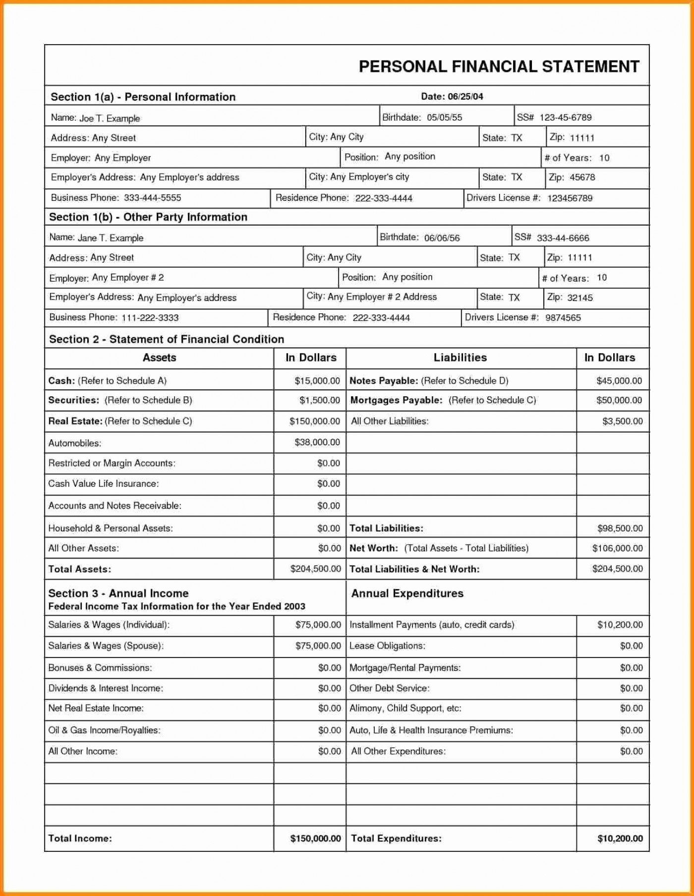 005 Unbelievable Financial Statement Template Excel Highest Quality  Personal Example Interim Free Download1400