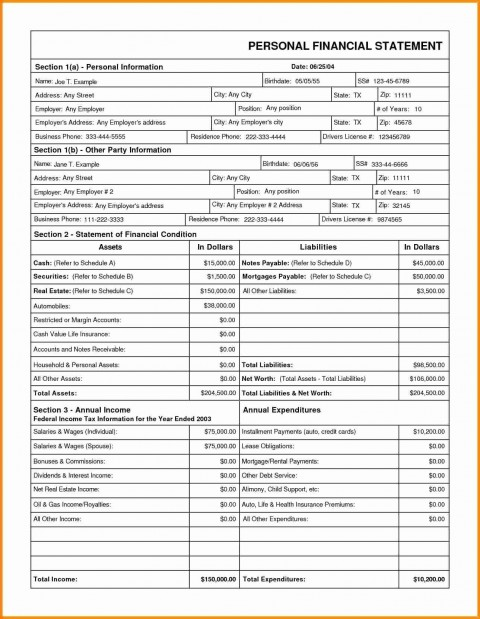 005 Unbelievable Financial Statement Template Excel Highest Quality  Personal Example Interim Free Download480