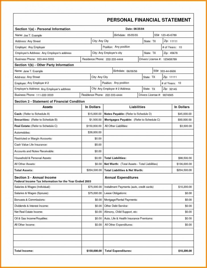 005 Unbelievable Financial Statement Template Excel Highest Quality  Personal Example Interim Free Download728