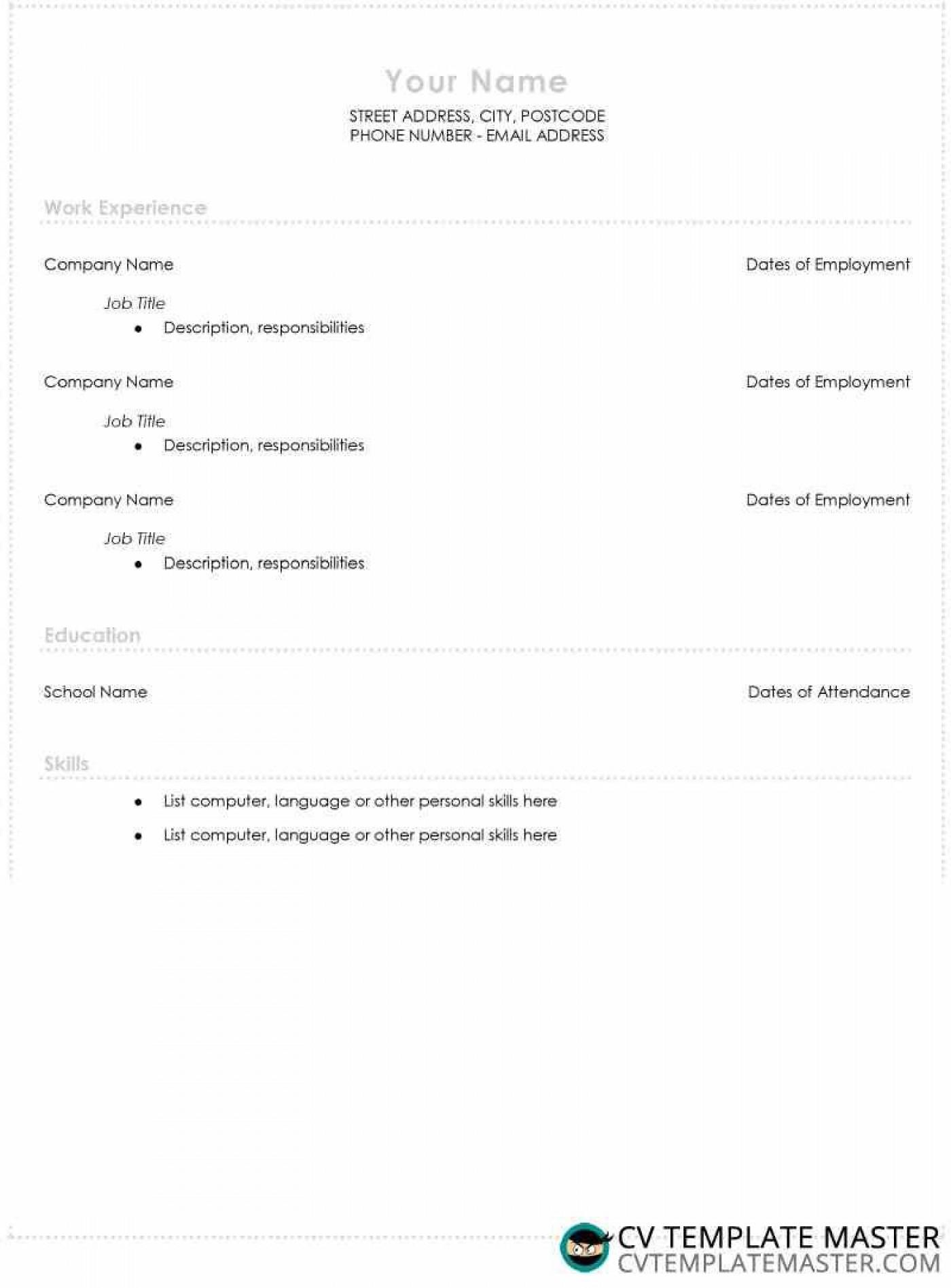 005 Unbelievable Free High School Resume Template Microsoft Word Example 1400