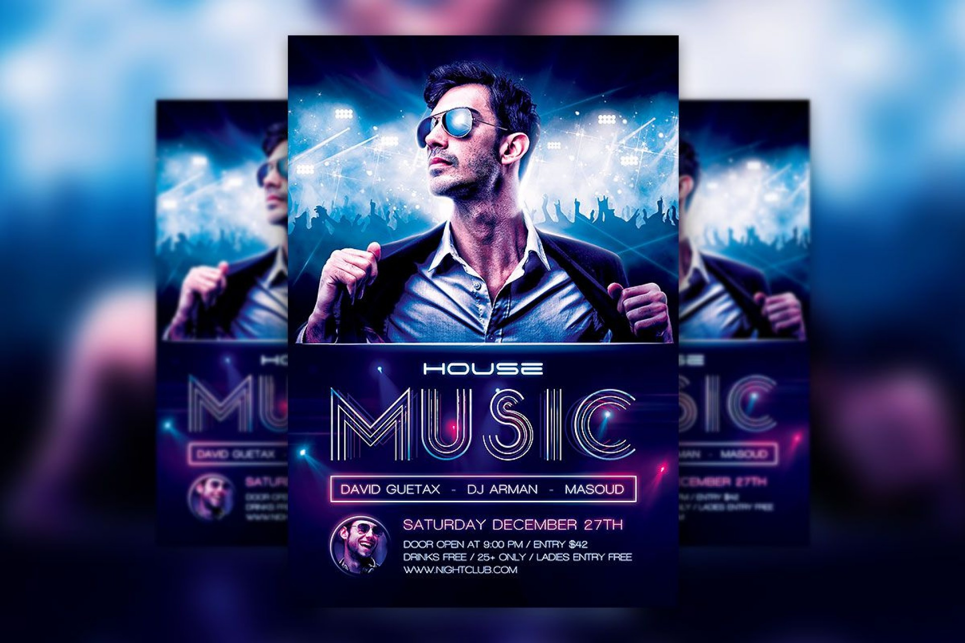 005 Unbelievable Free Party Flyer Psd Template Download High Def  - Neon Glow1920