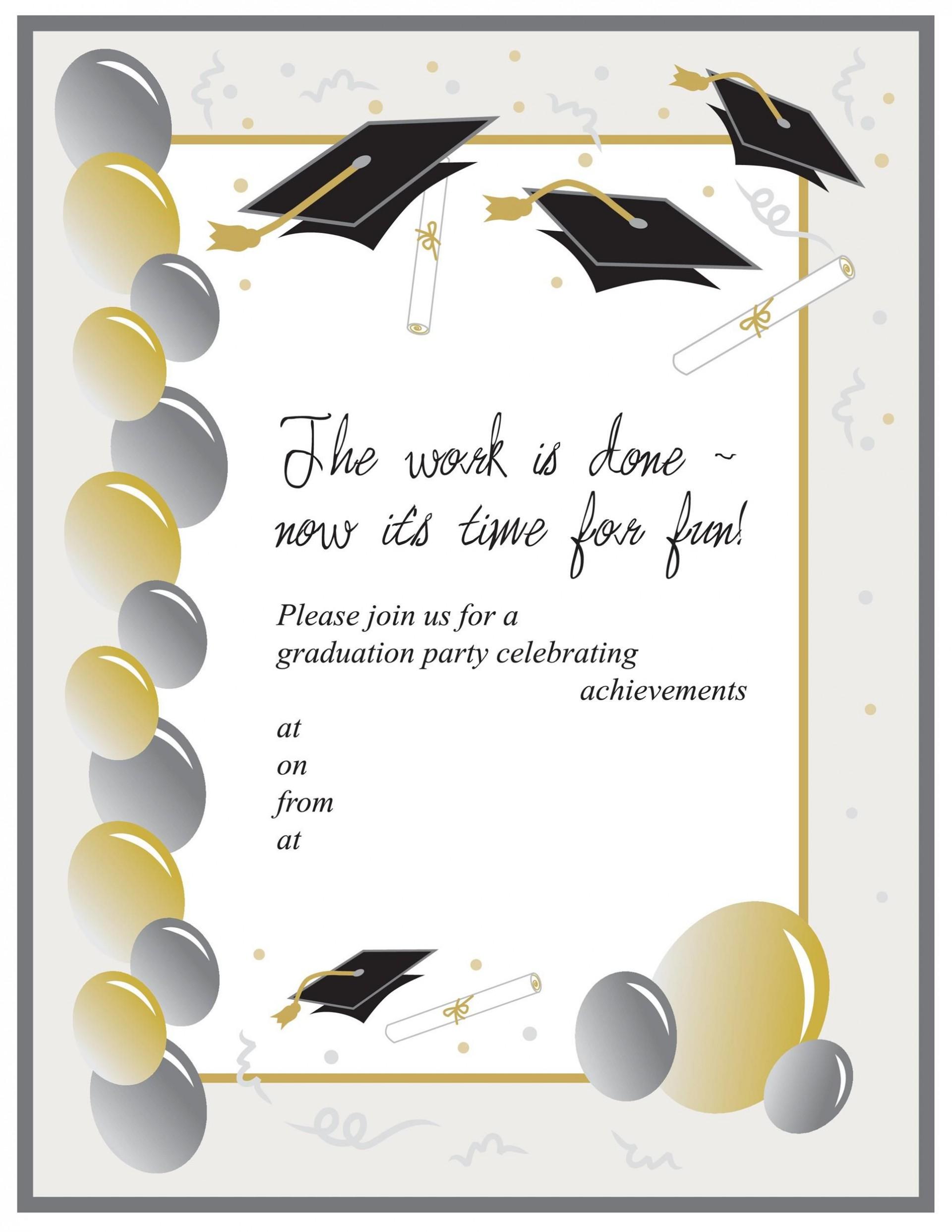 005 Unbelievable Graduation Party Invitation Template Inspiration  Templates 4 Per Page Free Reception1920