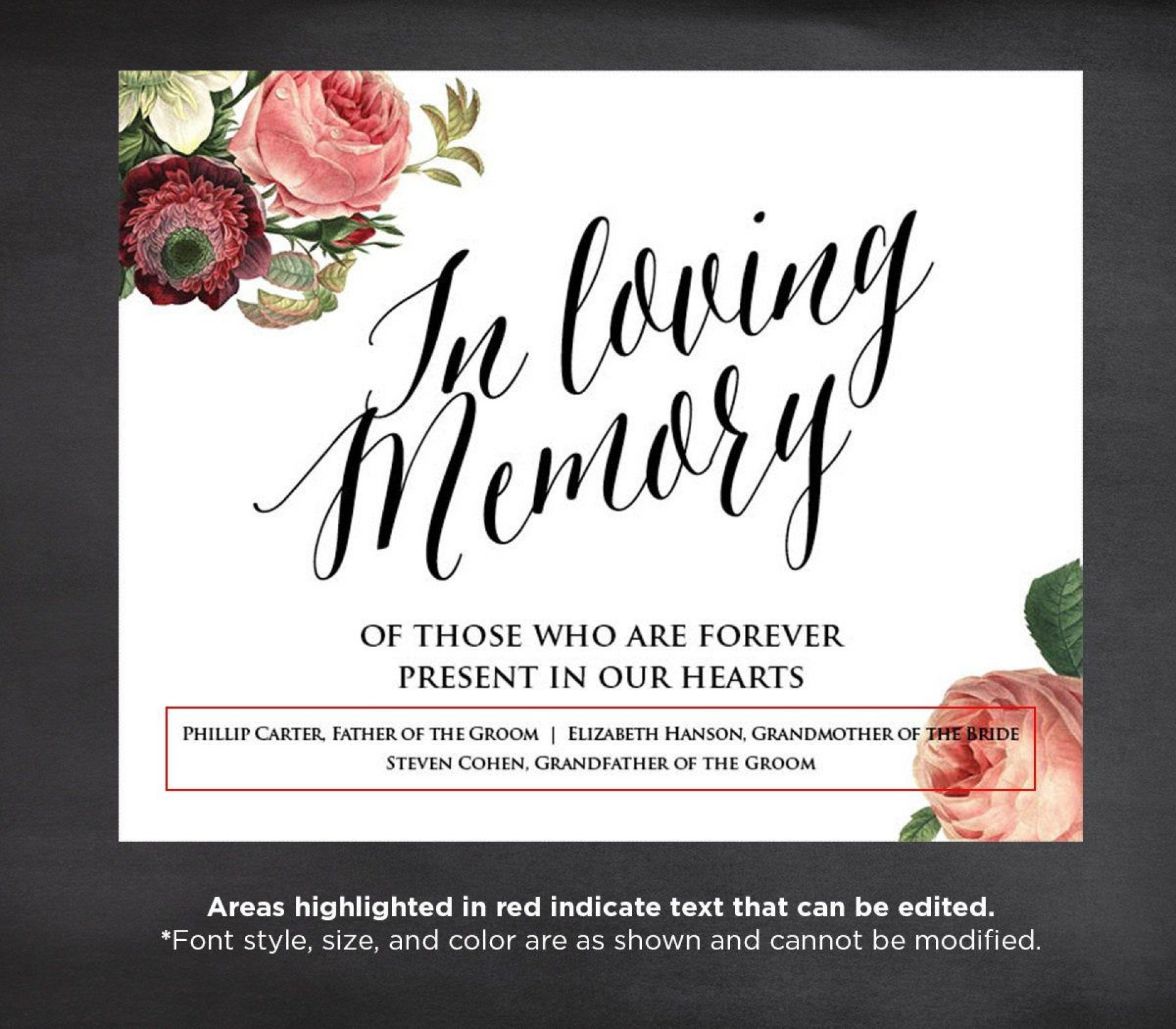 005 Unbelievable In Loving Memory Template Design  Templates Word1920