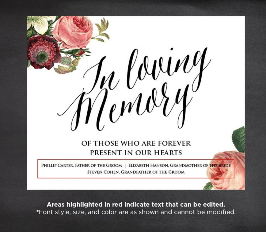 005 Unbelievable In Loving Memory Template Design  Templates Free Online Picture Decal