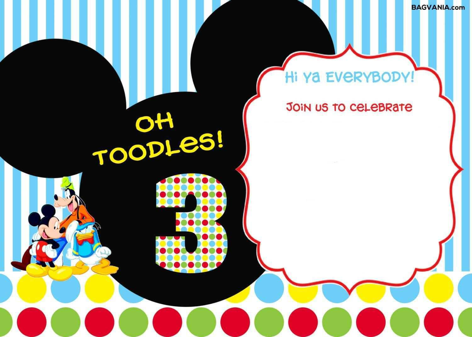 005 Unbelievable Mickey Mouse Invitation Template Inspiration  Free Diy 1st Birthday Baby DownloadFull