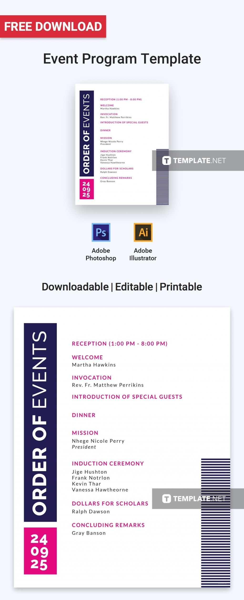 005 Unbelievable Printable Event Program Template High Definition  Free DownloadLarge