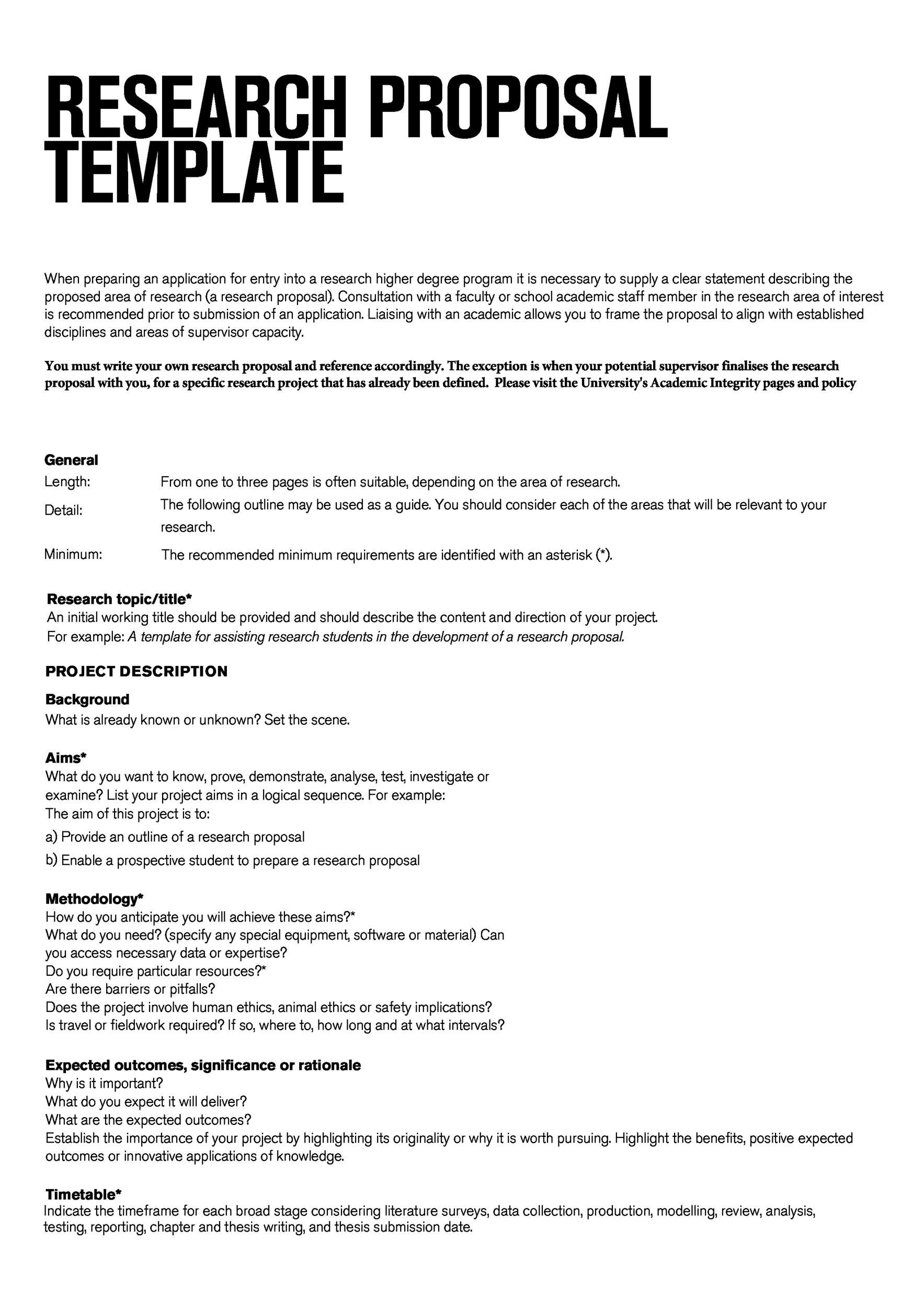 005 Unbelievable Research Topic Proposal Template Example  Format PaperFull
