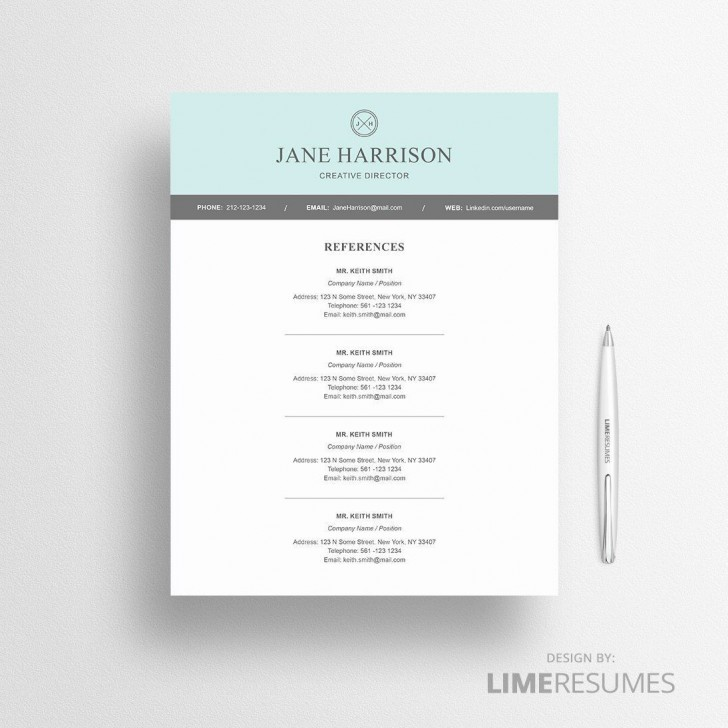 005 Unbelievable Resume Reference List Template Microsoft Word Design 728