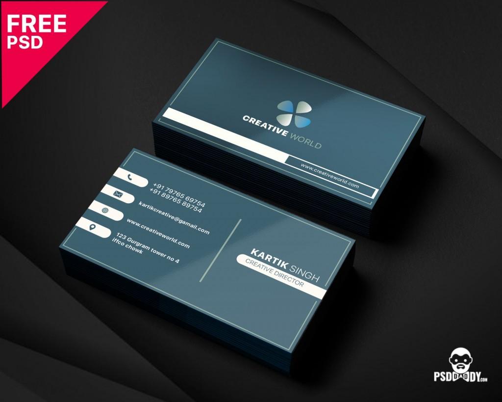 005 Unbelievable Simple Busines Card Template Psd Idea  Design In Photoshop Minimalist FreeLarge