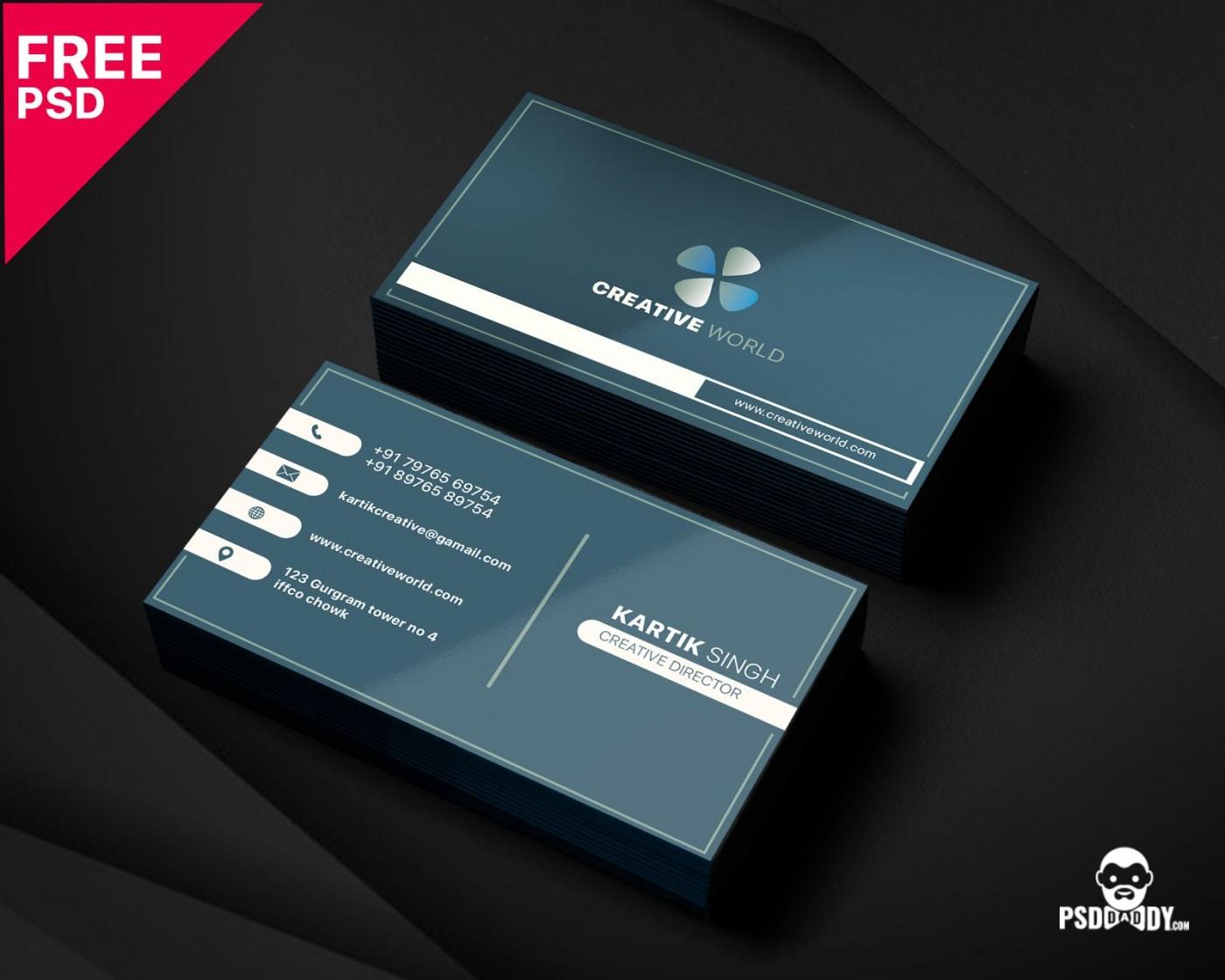 005 Unbelievable Simple Busines Card Template Psd Idea  Design In Photoshop Minimalist Free1400
