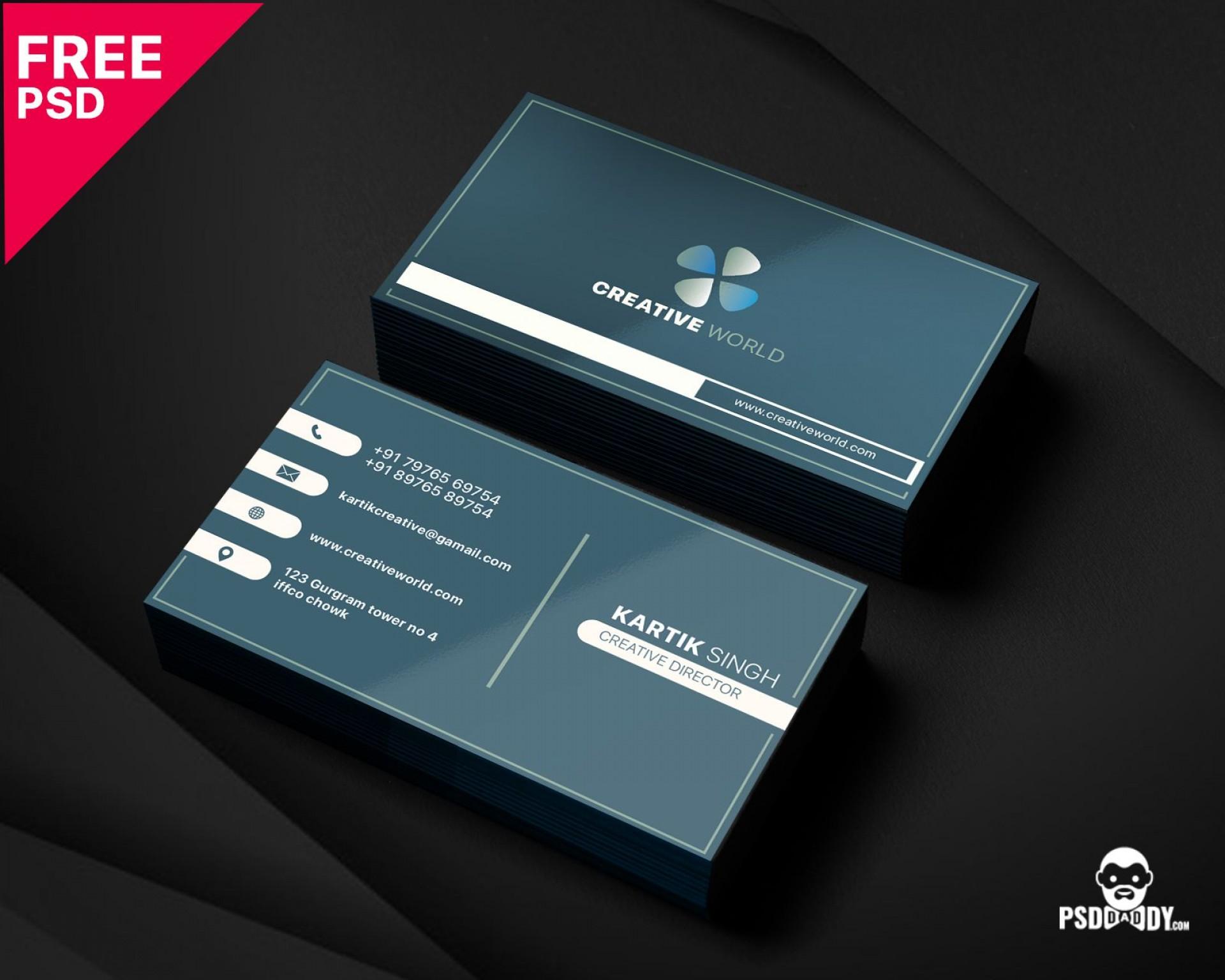 005 Unbelievable Simple Busines Card Template Psd Idea  Design In Photoshop Minimalist Free1920