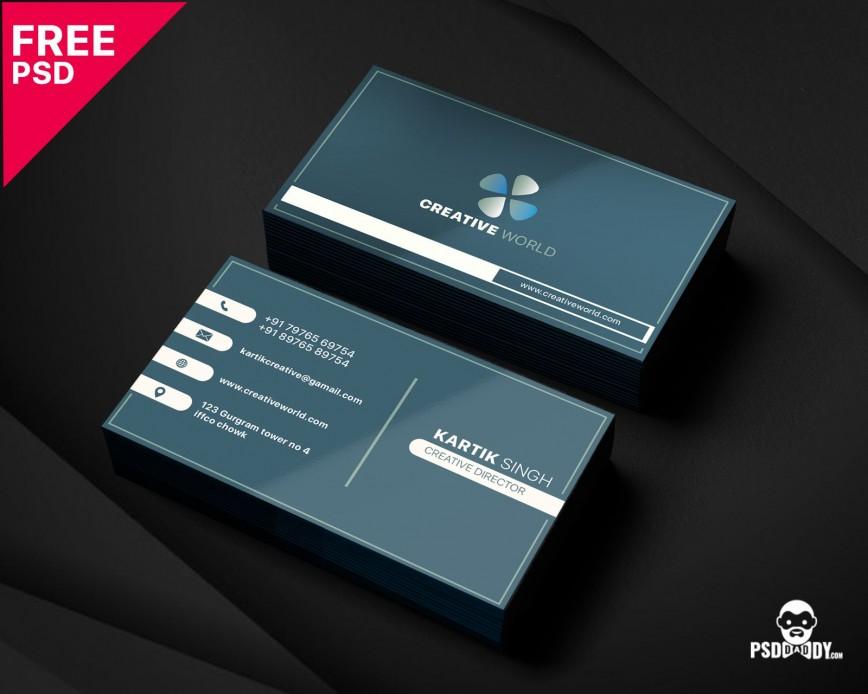 005 Unbelievable Simple Busines Card Template Psd Idea  Design In Photoshop Minimalist Free868