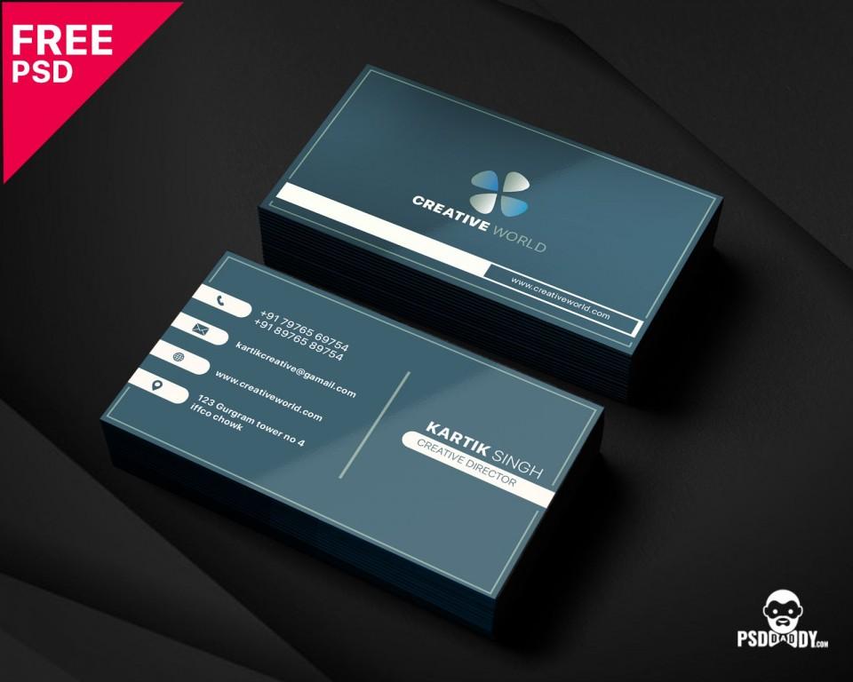 005 Unbelievable Simple Busines Card Template Psd Idea  Design In Photoshop Minimalist Free960