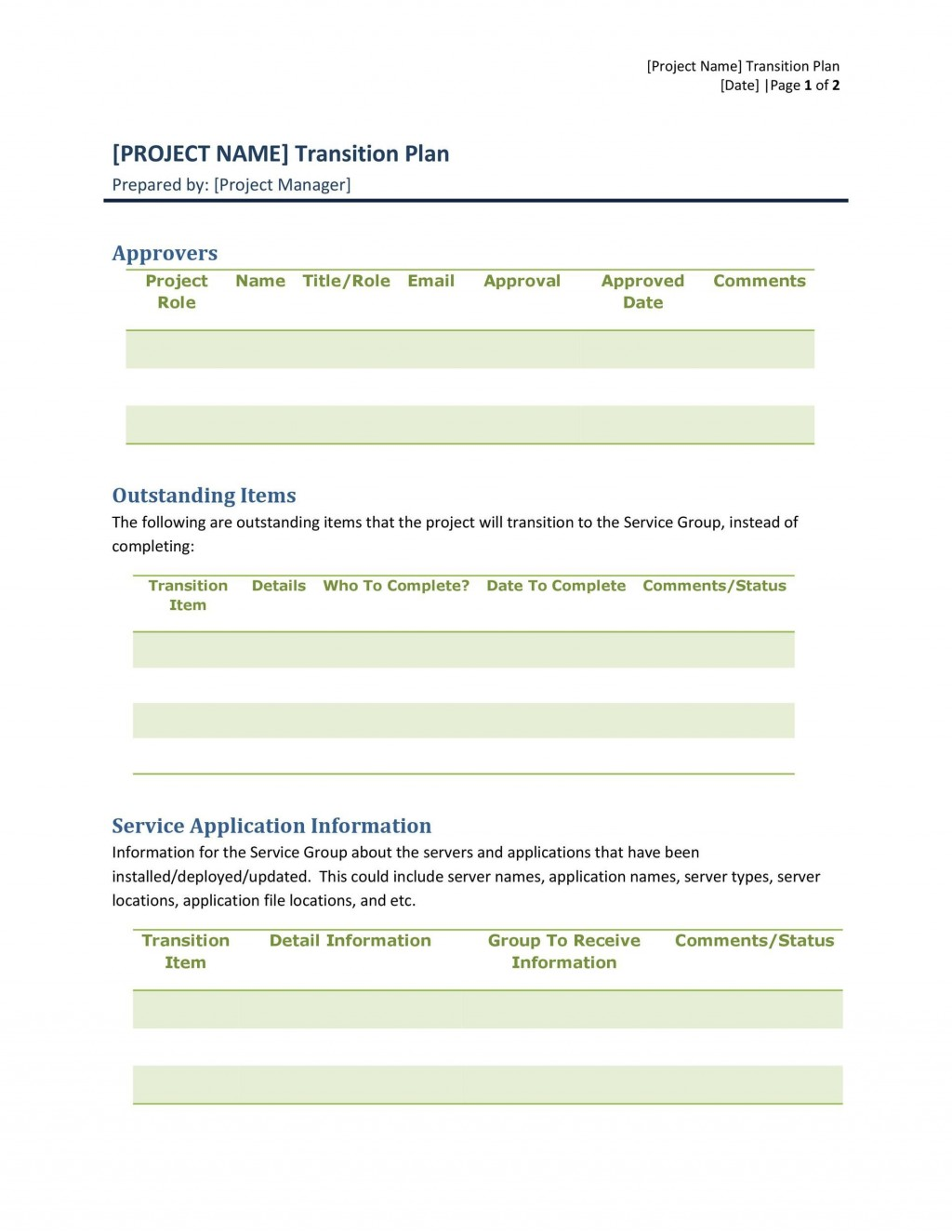 005 Unbelievable Software Project Transition Plan Sample Highest Quality  Template ExcelLarge