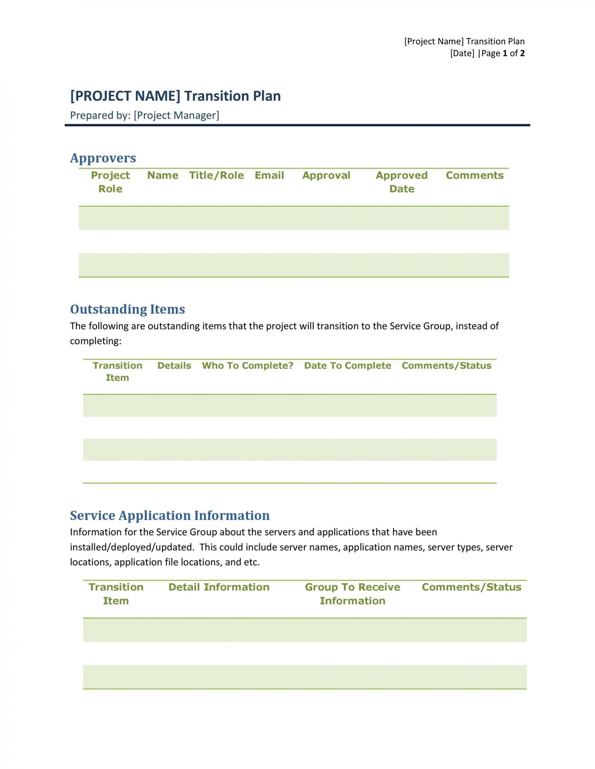 005 Unbelievable Software Project Transition Plan Sample Highest Quality  Template Excel1920