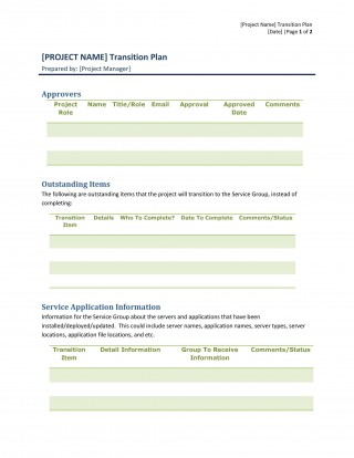005 Unbelievable Software Project Transition Plan Sample Highest Quality  Template Excel320
