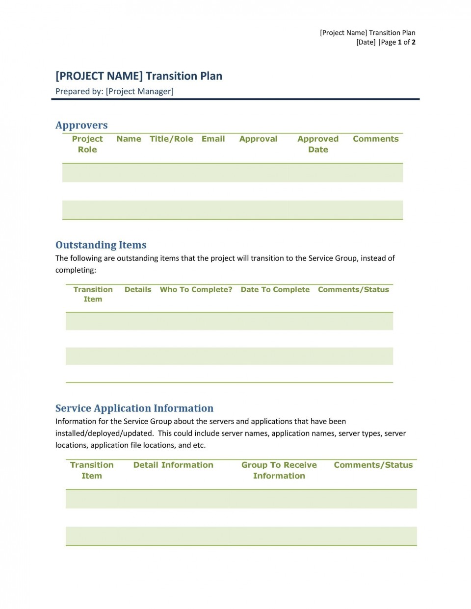 005 Unbelievable Software Project Transition Plan Sample Highest Quality  Template Excel960