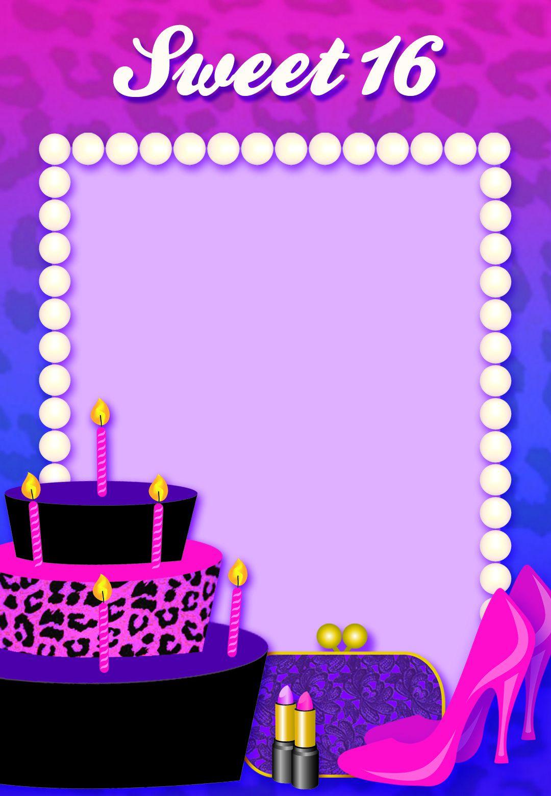 005 Unbelievable Sweet 16 Invite Template Idea  Templates Surprise Party Invitation Birthday Free 16thFull