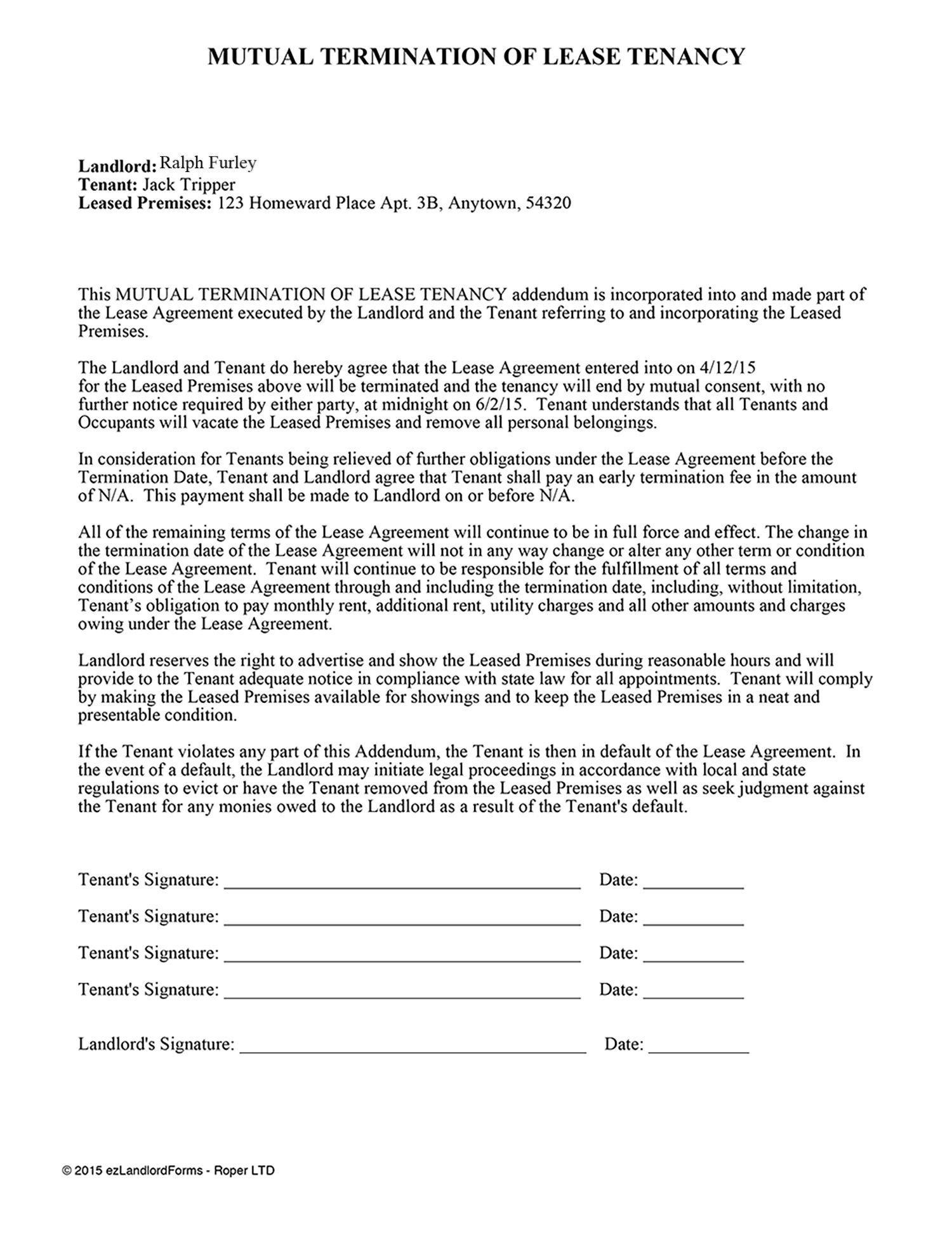 005 Unforgettable Addendum Form For Rental Agreement Photo Full