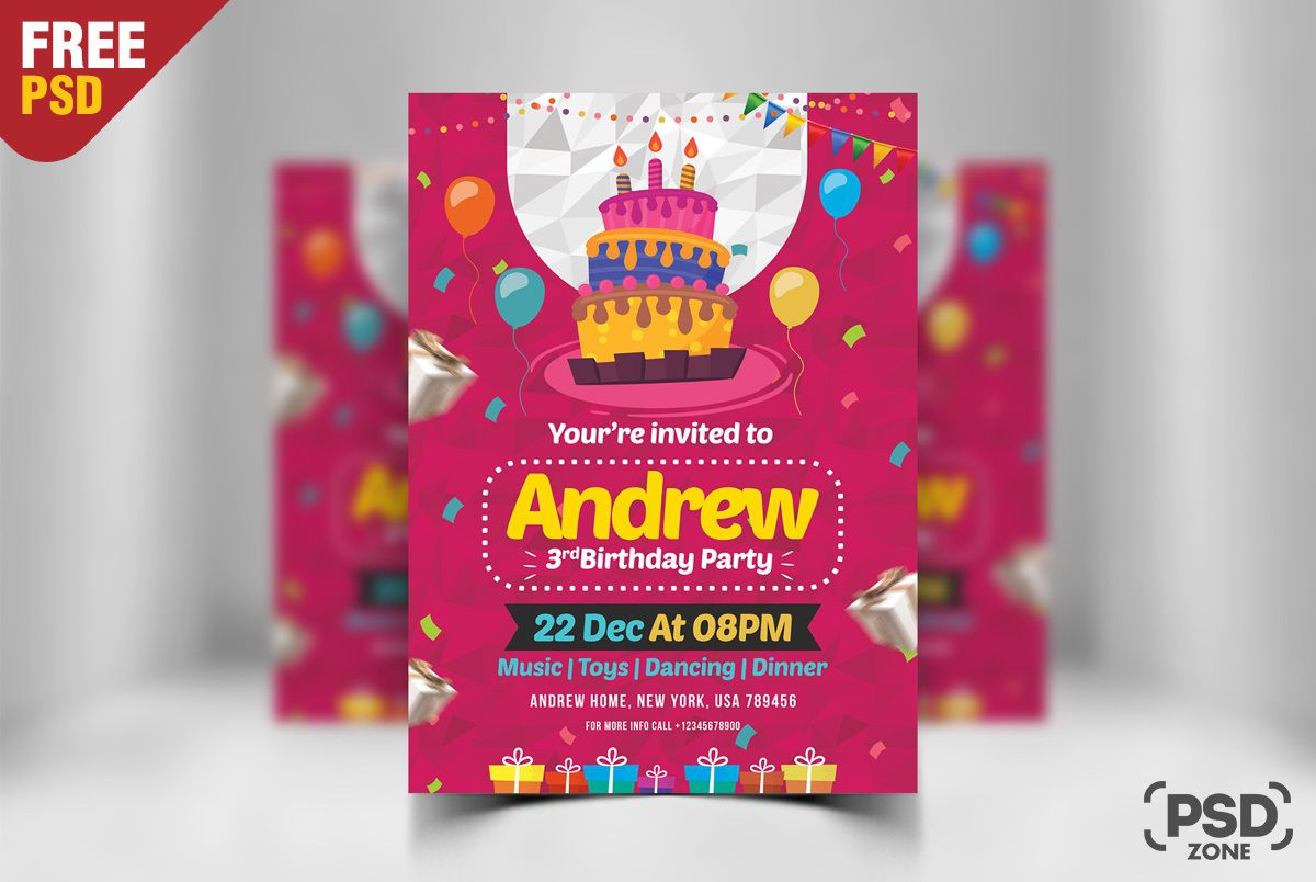 005 Unforgettable Birthday Party Invitation Flyer Template Free Download Image Full