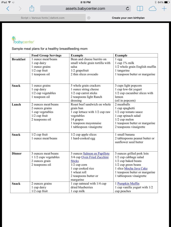 005 Unforgettable Breastfeeding Meal Plan Sample Pdf Photo Large