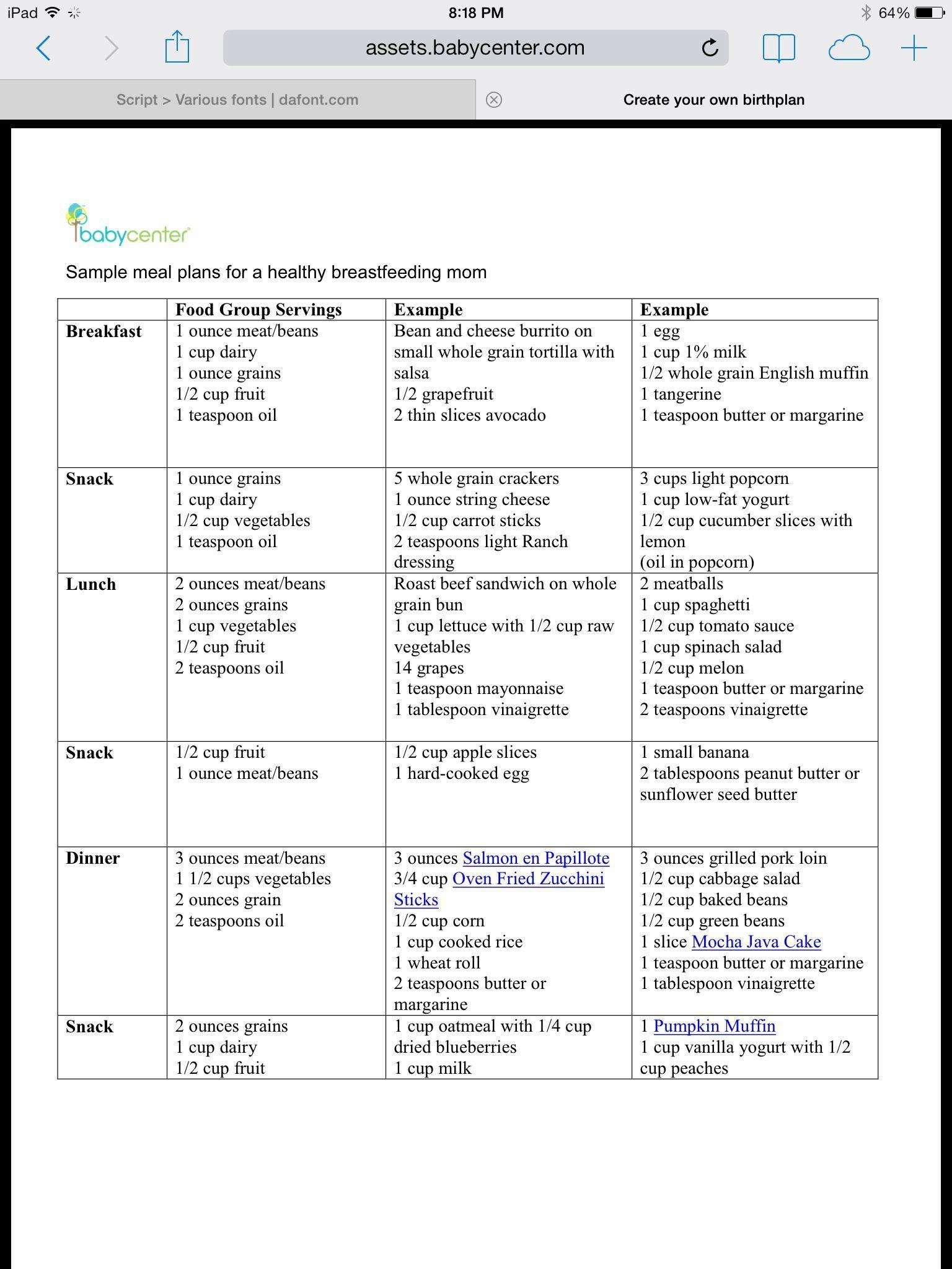 005 Unforgettable Breastfeeding Meal Plan Sample Pdf Photo Full