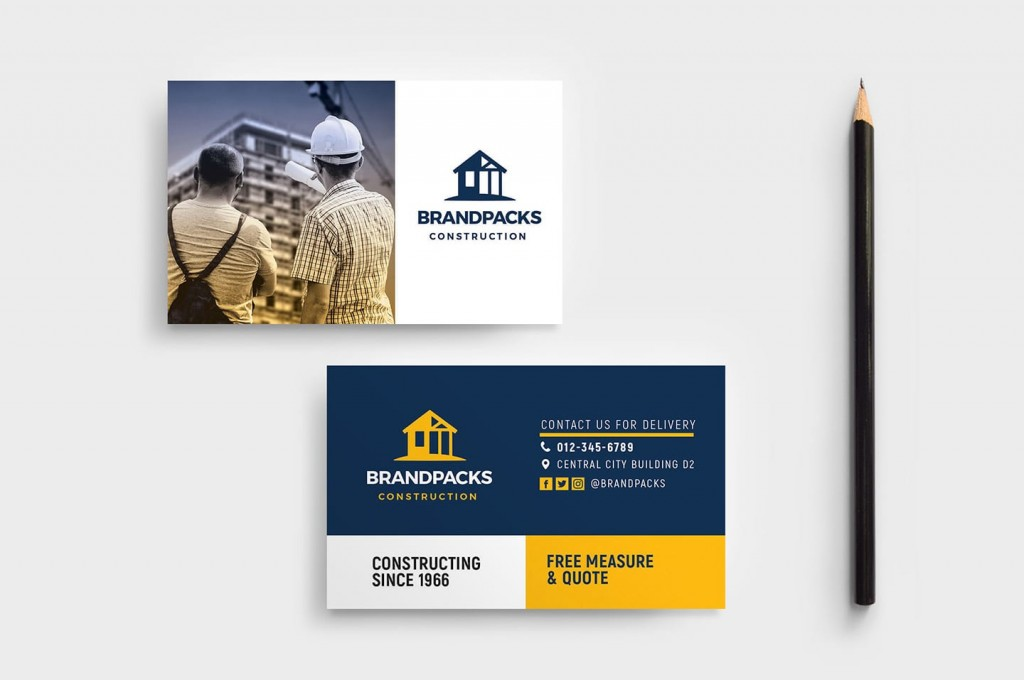 005 Unforgettable Construction Busines Card Template High Definition  Templates Visiting Company Format Design PsdLarge