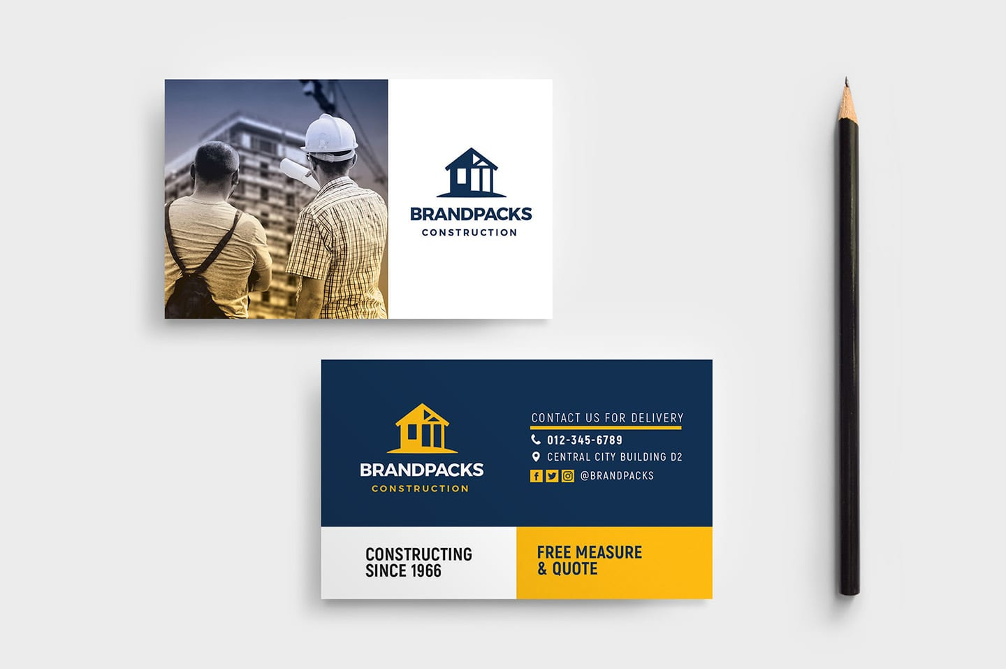 005 Unforgettable Construction Busines Card Template High Definition  Templates Visiting Company Format Design PsdFull