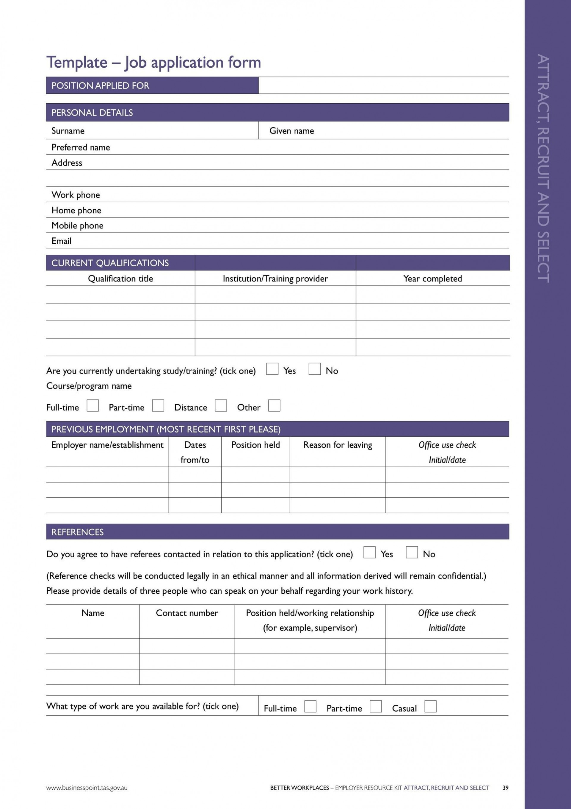 005 Unforgettable Employee Application Template Word Example  Free Job Document Form Format Letter Sample Doc1920