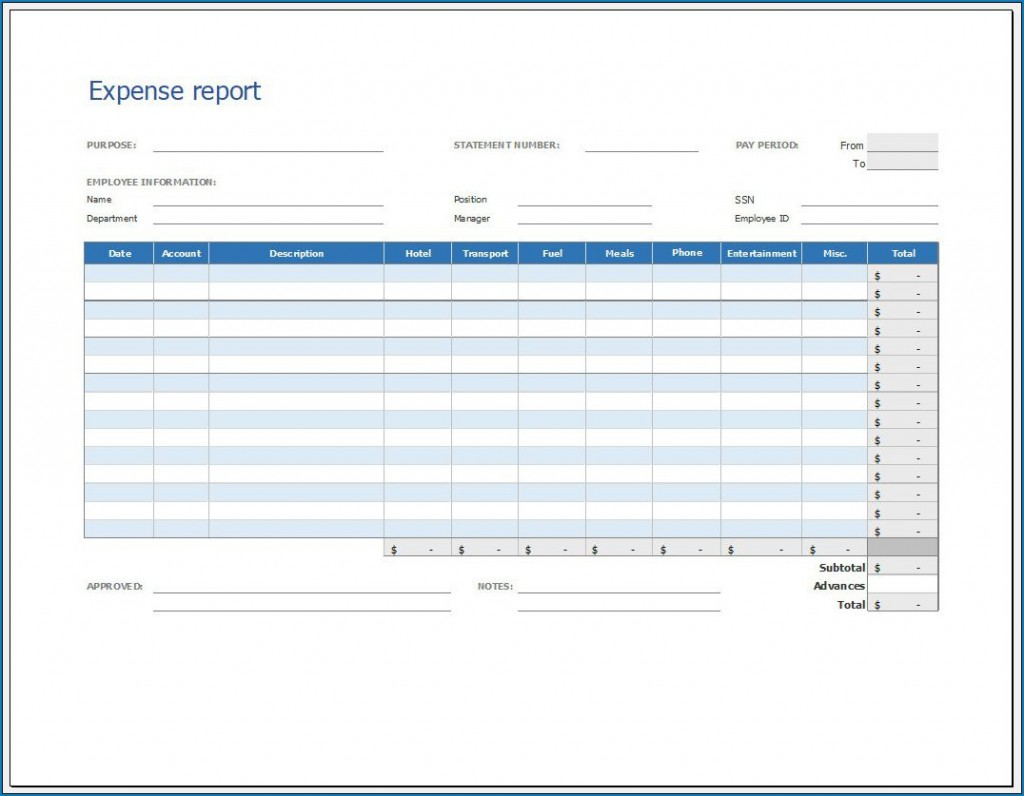 005 Unforgettable Expense Report Template Free Highest Quality  Pdf Excel DownloadLarge