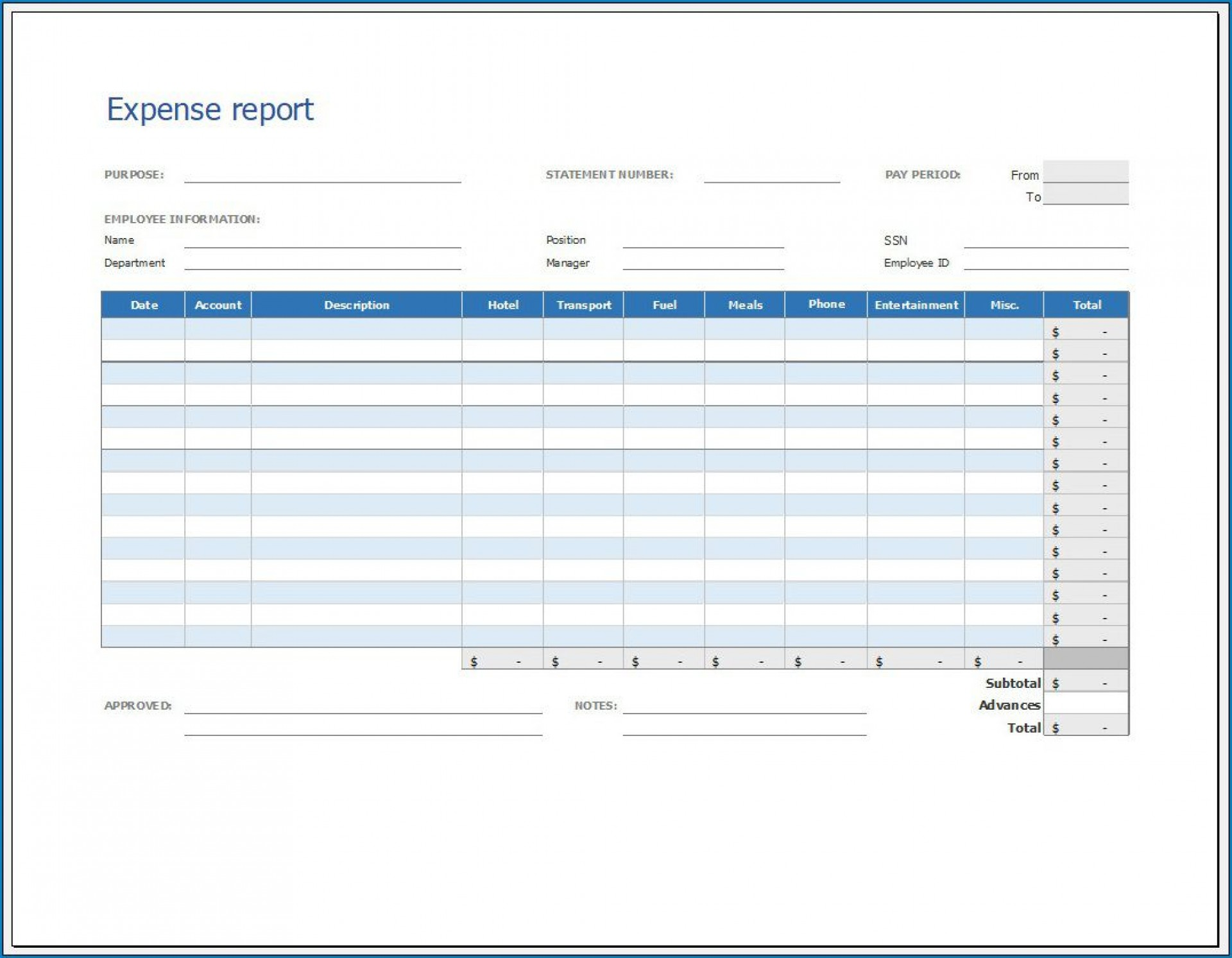 005 Unforgettable Expense Report Template Free Highest Quality  Pdf Excel Download1920