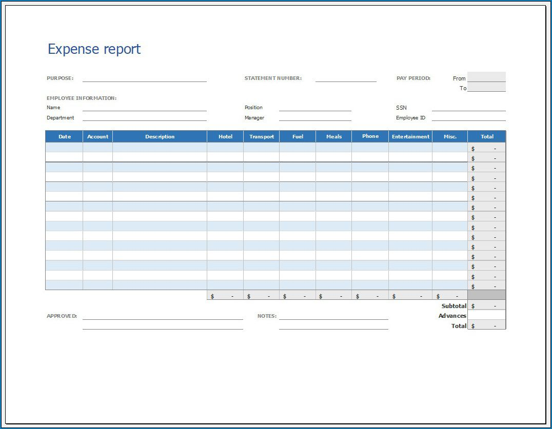 005 Unforgettable Expense Report Template Free Highest Quality  Pdf Excel DownloadFull