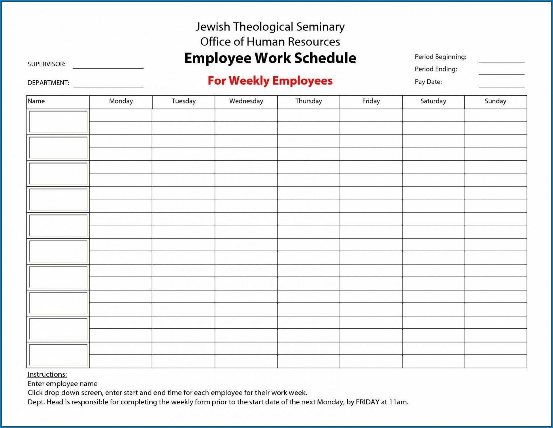 005 Unforgettable Free Employee Work Schedule Template Highest Quality  Templates Monthly Excel Weekly Pdf1920