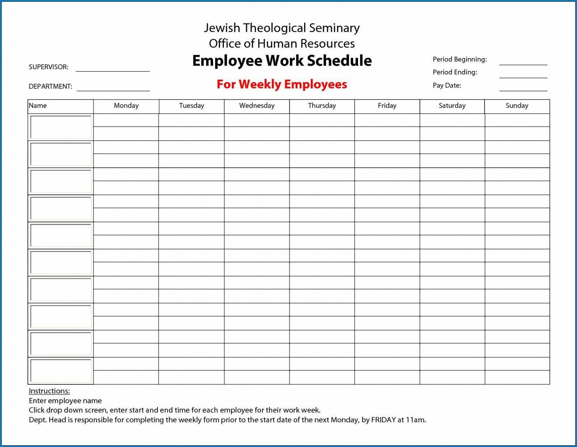 005 Unforgettable Free Employee Work Schedule Template Highest Quality  Templates Monthly Excel Weekly PdfFull